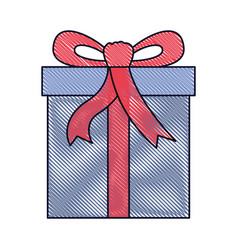 gift box icon with decorative ribbon in colored vector image