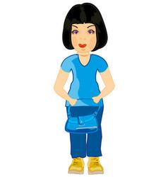 girl with hand-bag vector image