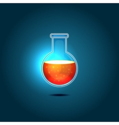Glass Chemical Flask with Red Toxic Liquid vector image vector image