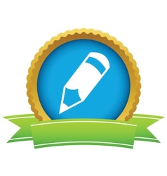 Gold pencil logo vector