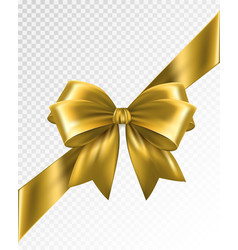 Golden corner ribbon with bow - design vector