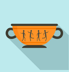 greek ancient bowl icon flat style vector image