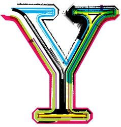 Grunge colorful font Letter Y vector image