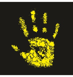 Grunge yellow handprint symbol conceptual vector
