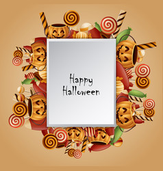 Halloween square card pumpkins basket vector