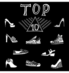 Hand drawn shoes set blackboard vector image