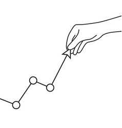 hand with graph like cost increase vector image