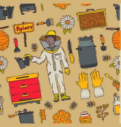 honey sweet beeceeper apiary farm vector image