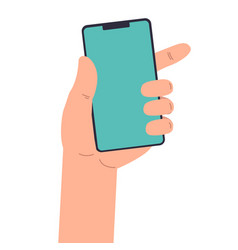 human hand with smartphone in flat style des vector image
