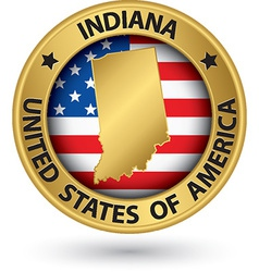 Indiana state gold label with state map vector