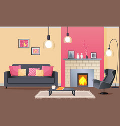 Interior design of cozy living room with fireplace vector