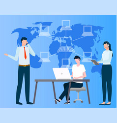 International business wireless connection vector