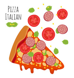 italian pizza with sausage tomato cheese vector image