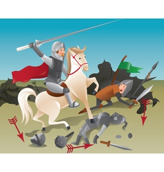 Knight with lance on horseback vector image