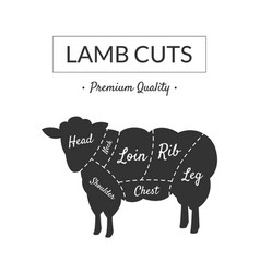 lamb cuts butcher shop label premium quality vector image