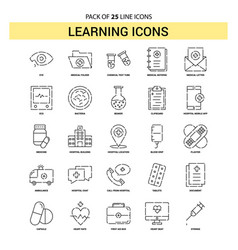 learning icons line icon set - 25 dashed outline vector image