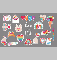 lgbt elements for valentines day love symbols vector image