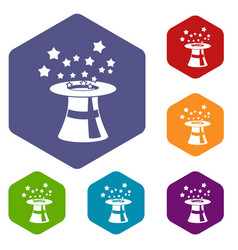 Magic hat with stars icons set vector