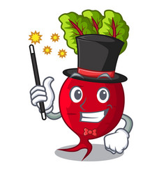 Magician whole beetroots with green leaves cartoon vector