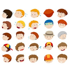 Male faces with different emotions vector image