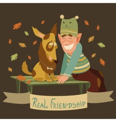 Man and dog friendship vector