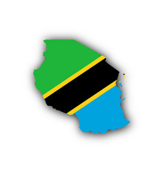 Map and flag of tanzania vector