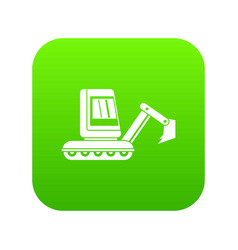 Mini excavator icon digital green vector