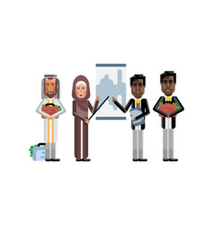 multiethnic business team doing presentation vector image