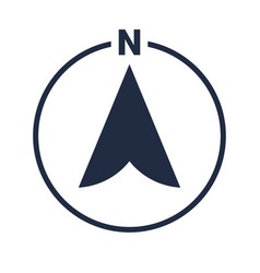 North arrow icon n direction pointer symbol vector