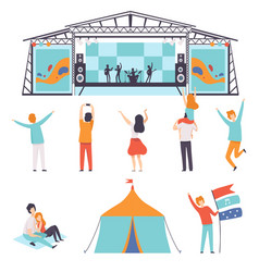 Open air festival set music band performing on vector