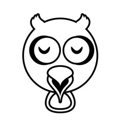 Outline owl head animal vector