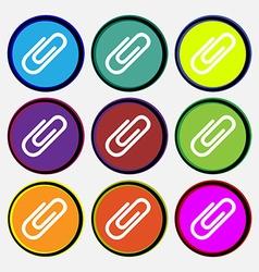 Paper clip icon sign Nine multi colored round vector image