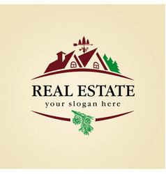 Real estate logo wood vector