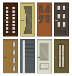 realistic room doors icons vector image