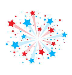 Red and blue firework vector