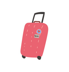 red suitcase with wheels summer travel sign vector image