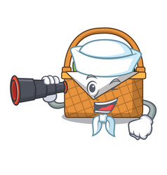 sailor with binocular picnic basket mascot cartoon vector image