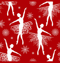 seamless pattern with ballerina and snowflakes vector image