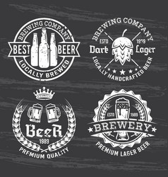 Set for beer and brewery white emblems vector