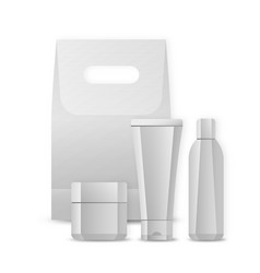 set of blank package for cosmetic product isolated vector image