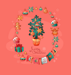 Set of christmas toys and christmas tree vector