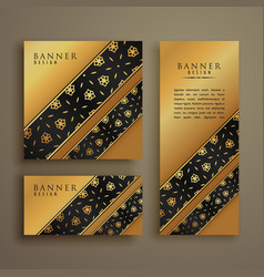 set of three premium golden cards banners design vector image