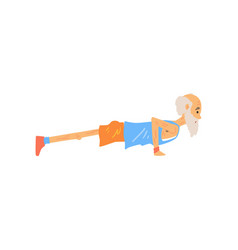 side view of old man doing push ups sports vector image