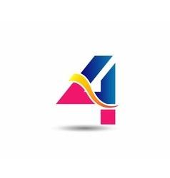 sign number 4 logo vector image