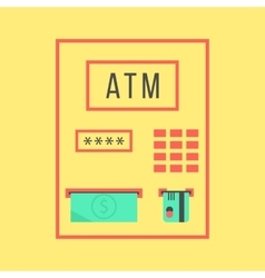 simple atm template isolated on yellow background vector image