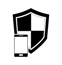single shield and cellphone icon vector image