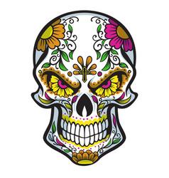 skull with dia de los muertos face painting vector image