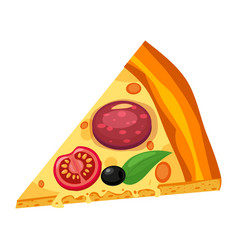slice italian pizza with different ingredients vector image