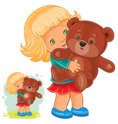 Small girl playing with teddy bear vector