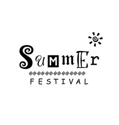 Summer festival decorated with ornament and sun vector